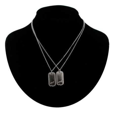 - BFF Best Friends Pendant Necklaces Dog Tag Military Style Silver Tone  Set 2