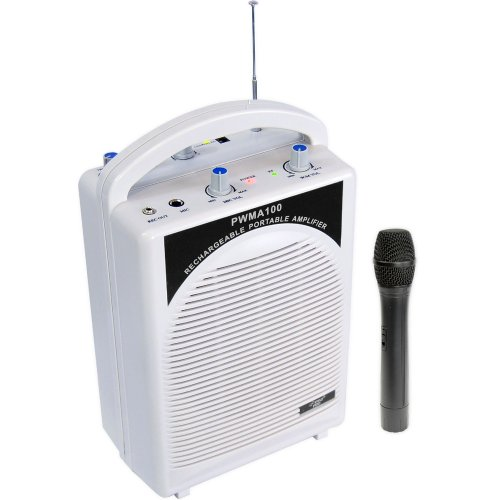 PYLE AUDIO PYLPWMA100W Rechargeable Pa Speaker With Wireless Microphone