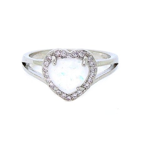 Ginger Lyne Collection Jersey Heart Shape Lab Created Fire Opal Clear Accents Ring (5)