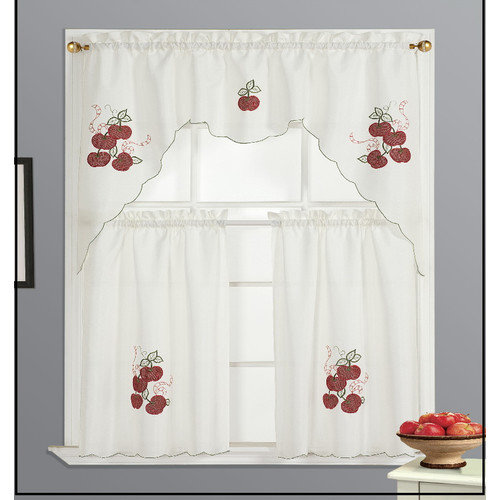 Dainty Home Kitchen Apple Curtain Set (Set of 3)
