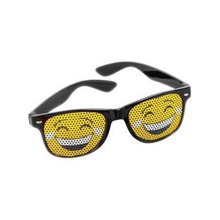 Black Framed Tear Laughter Face Emoticon Emoji Novelty Glasses Costume Accessory - Cool Glasses Emoji