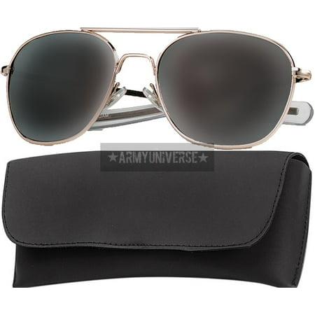 Gold Military 58mm Pilots Aviator Sunglasses Smoke (Military Aviators)