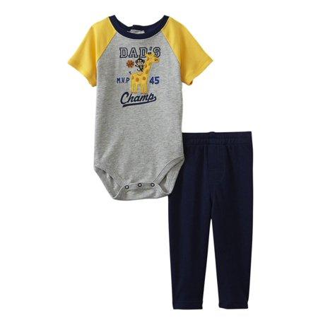 Little Wonders Infant Boys 2 Pc Dads Mvp Champ Giraffe Bodysuit   Pants