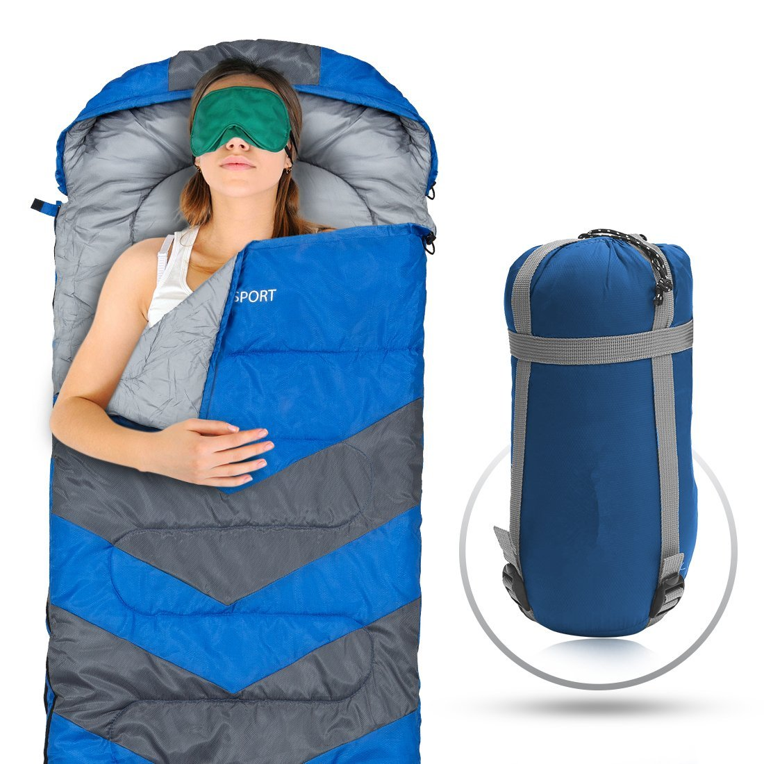 Sleeping Bag Envelope Lightweight Portable, Waterproof, Comfort With Compression Sack Great For 4 Season Traveling,... by