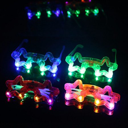 12 PCS Light-Up Star Glasses LED Flashing Blinking Sunglasses Rave Party