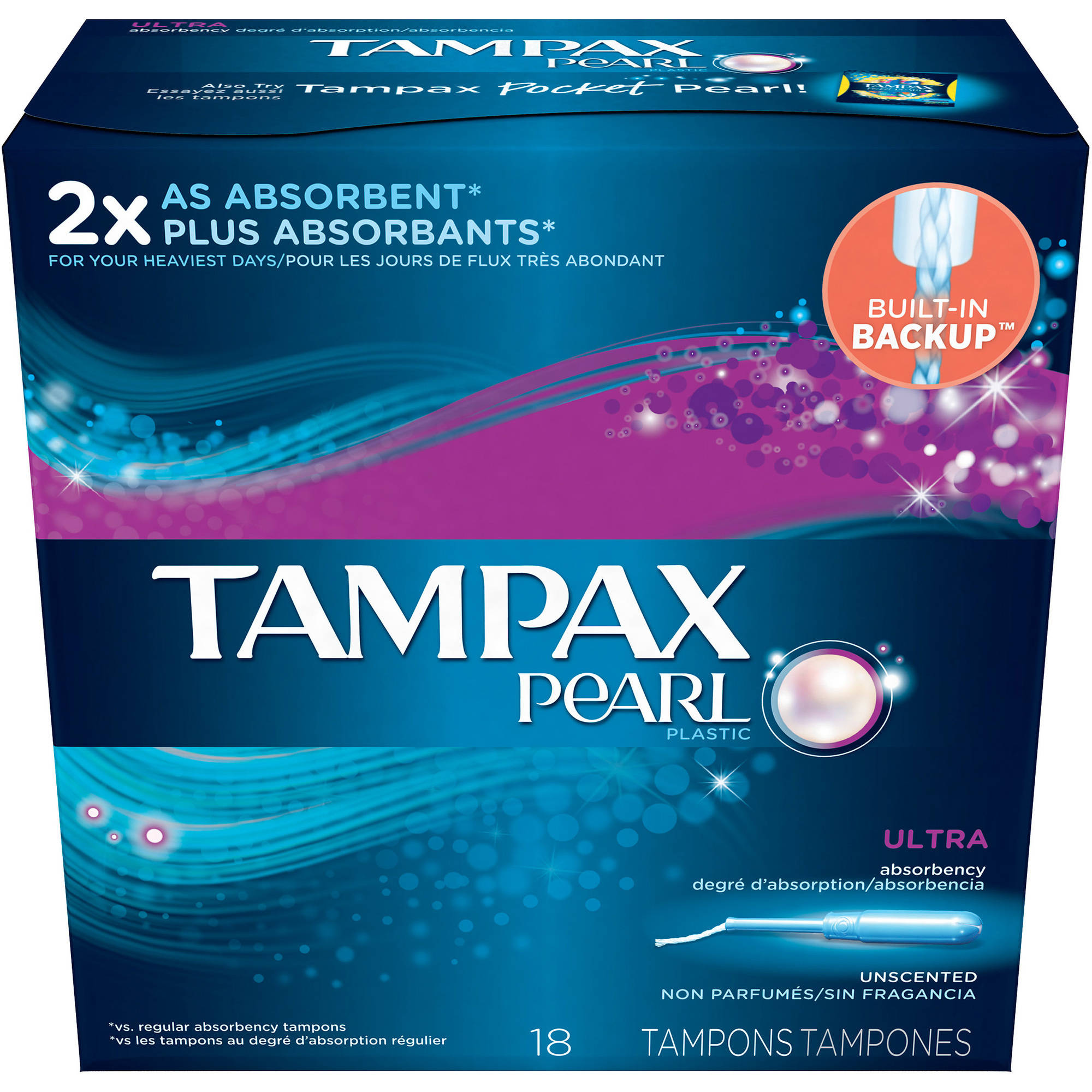 Tampax Pearl Ultra Absorbency Unscented Tampons, 18 count