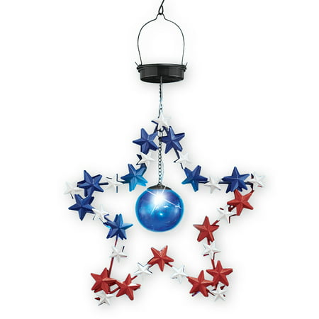 (Patriotic Solar Metal Star Tree Dangler Hanging Outdoor Decoration)