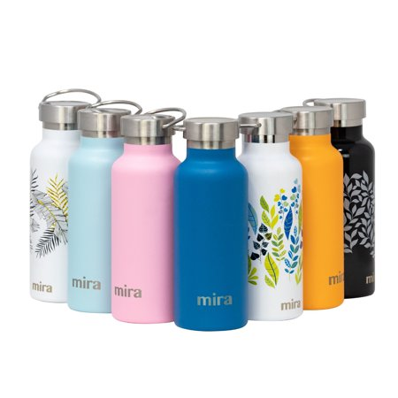 MIRA 17 oz Stainless Steel Vacuum Insulated Water Bottle | Keeps Drink Cold for 24 hours & Hot for 12 hours, Does Not Sweat | Large Capacity Sports Water Bottle with 2 Lids | 500 ml Hawaiian (17 Oz Vizio Vacuum Bottle)