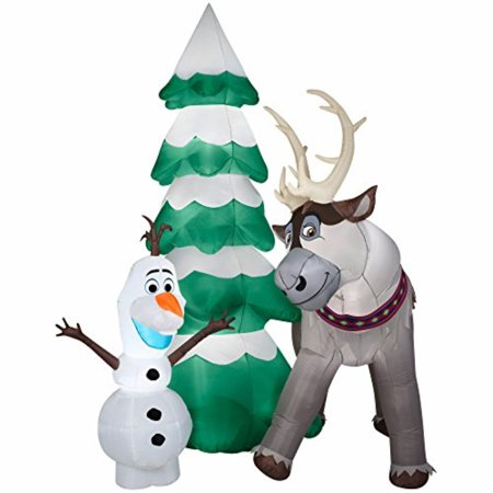 gemmy airblown inflatile olaf and sven the reindeer standing next to a christmas tree scene - Walmart Christmas Yard Decorations