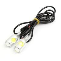 Unique Bargains silver Tone Shell White 2-LEDs Car Tail Reversing Lamp License Plate Light 2pcs
