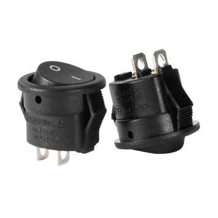 5Pcs AC 250V/3A 125V/6A 2P SPST 2 Position Round Rocker Switch Black UL Listed ()
