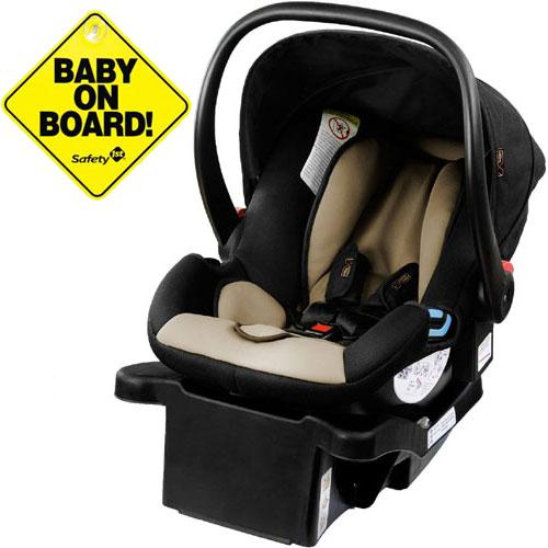 Mountain Buggy Protect Infant Car Seat w Baby on Board Sign - Black Stone