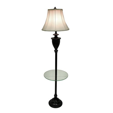 grecian bronze finish fluted urn floor lamp with glass shelf and fabric shade. Black Bedroom Furniture Sets. Home Design Ideas