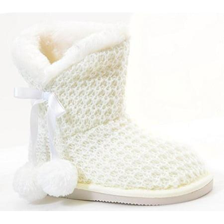 Sweater Knit Pom-pom Vegan Fur Girls Winter Warm Boots