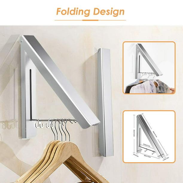 amerteer retractable clothes rack closet organizer easy installation folding clothes hanger drying rack wall mount aluminum