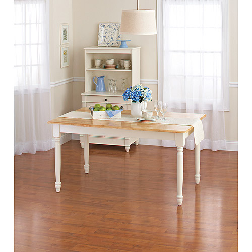 Better Homes and Gardens Autumn Lane Farmhouse Dining Table, White and Natural