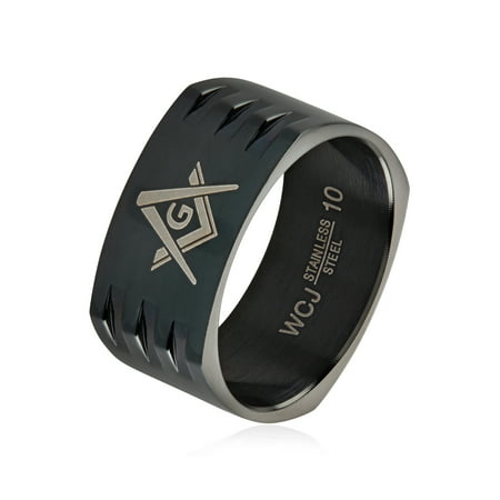 Masonic Black Plated Stainless Steel Round Square Band Ring (10mm)