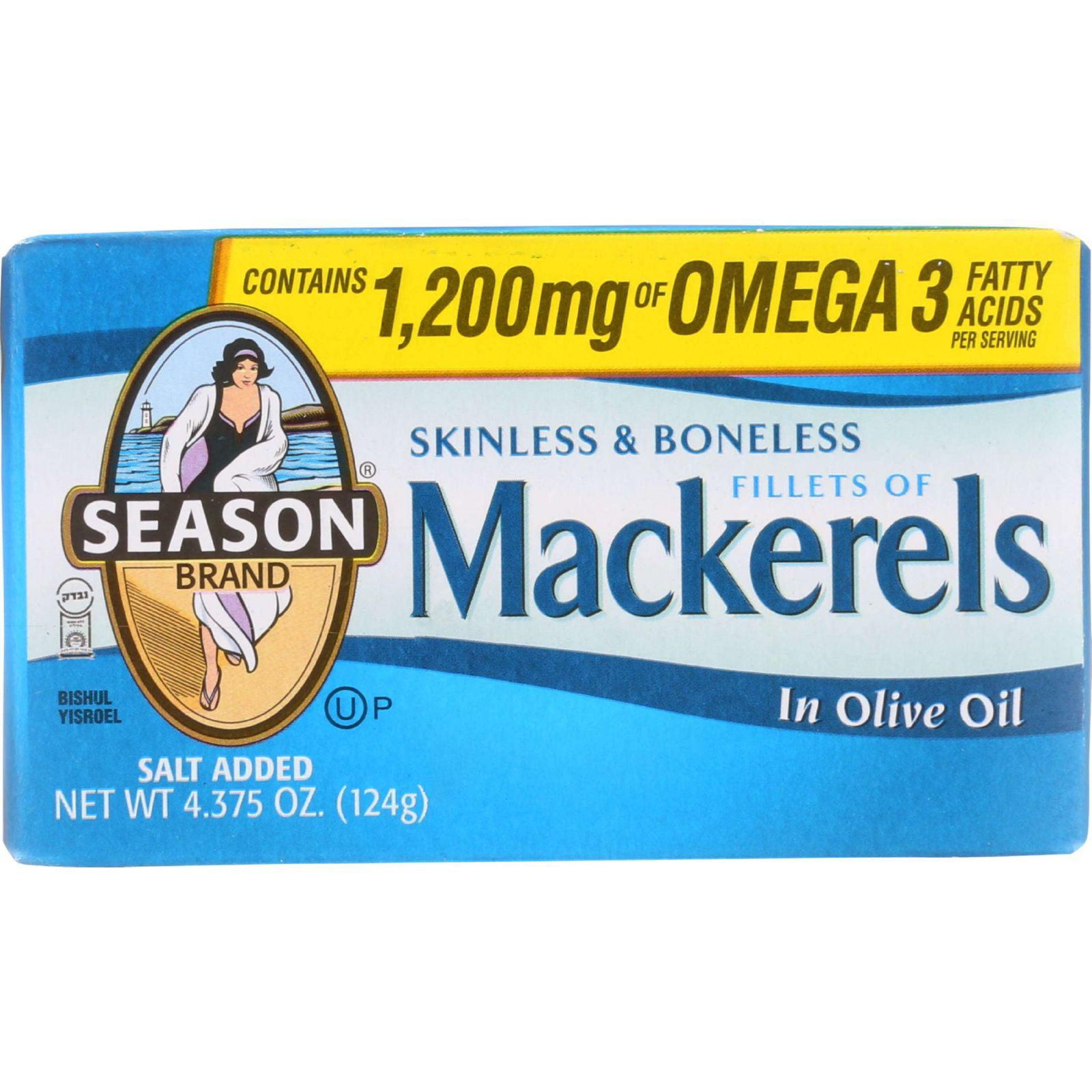 Season Brand Mackerels Fillets in Olive Oil 4.375 oz case of 12 by