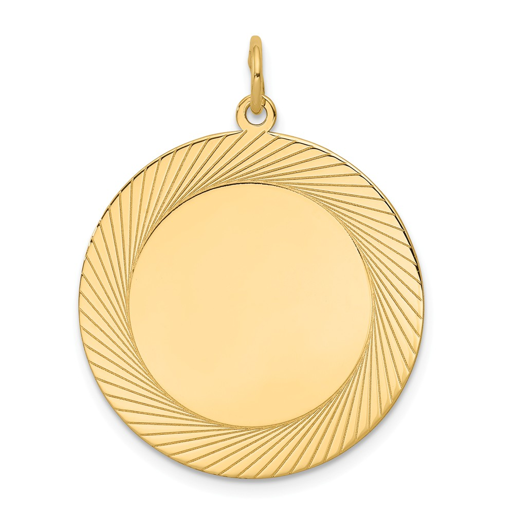 14k Yellow Gold Etched Design 0.018 Gauge Circular Engravable Disc Charm (1.2in long x 1in wide)