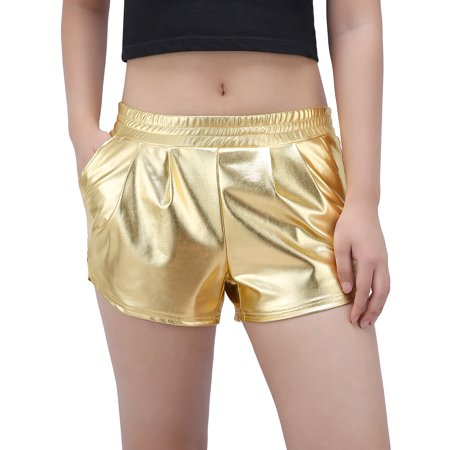 HDE Women's Metallic Shorts Elastic Waist Dolphin Cut Shiny Holographic Pants](Silver Sequin Shorts)