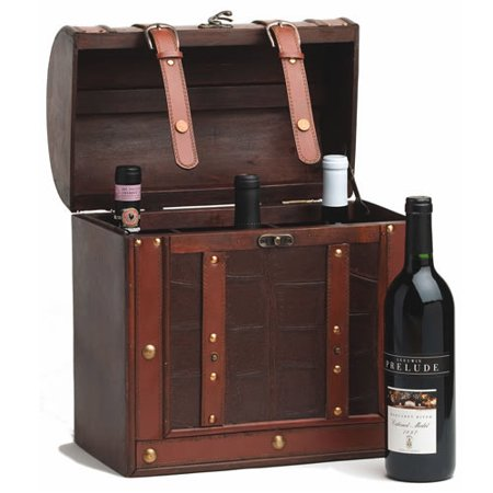 Wooden Wine Box (Wine Box, Large 6 Wooden Wine Bottle Box Storage Faux Leather - Holiday Gift)