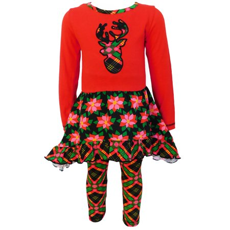 AnnLoren Christmas Red and Black Poinsetta & Plaid Dress Outfit Set](Father Xmas Outfits)