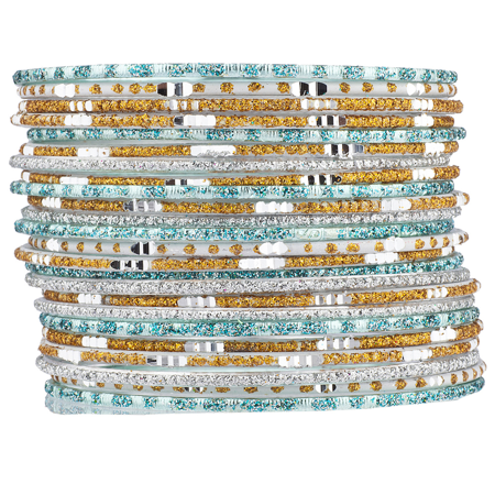 Lux Accessories Mint Gold Tone Glitter Indian Wedding Boho Multi Bangle Set - Bridal Bangle Set