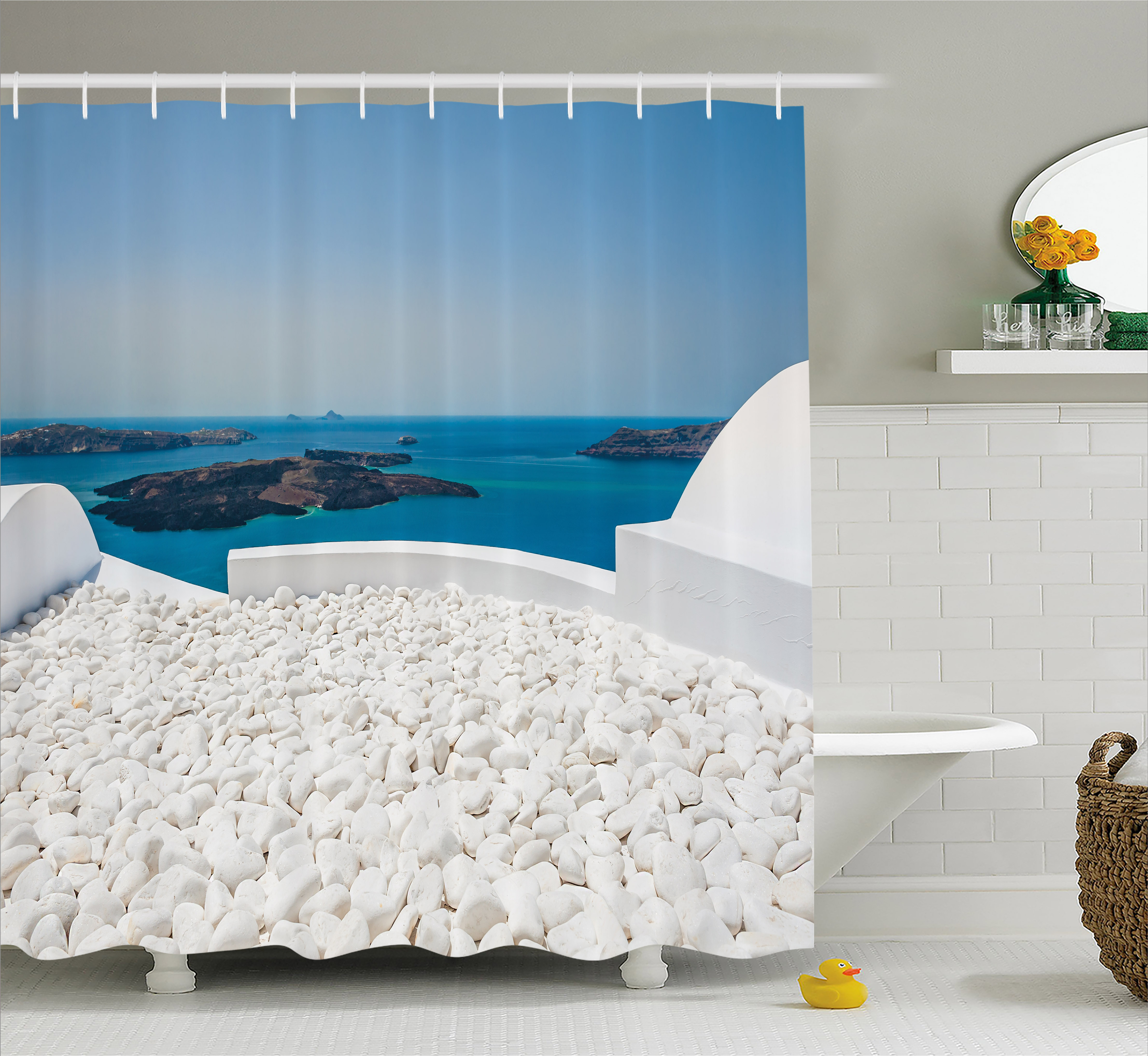 Travel Decor Shower Curtain, Hotel with White Stones Santorini Island Greece Landscape with Sea, Fabric Bathroom Set with Hooks, 69W X 70L Inches, Turquoise and White, by Ambesonne