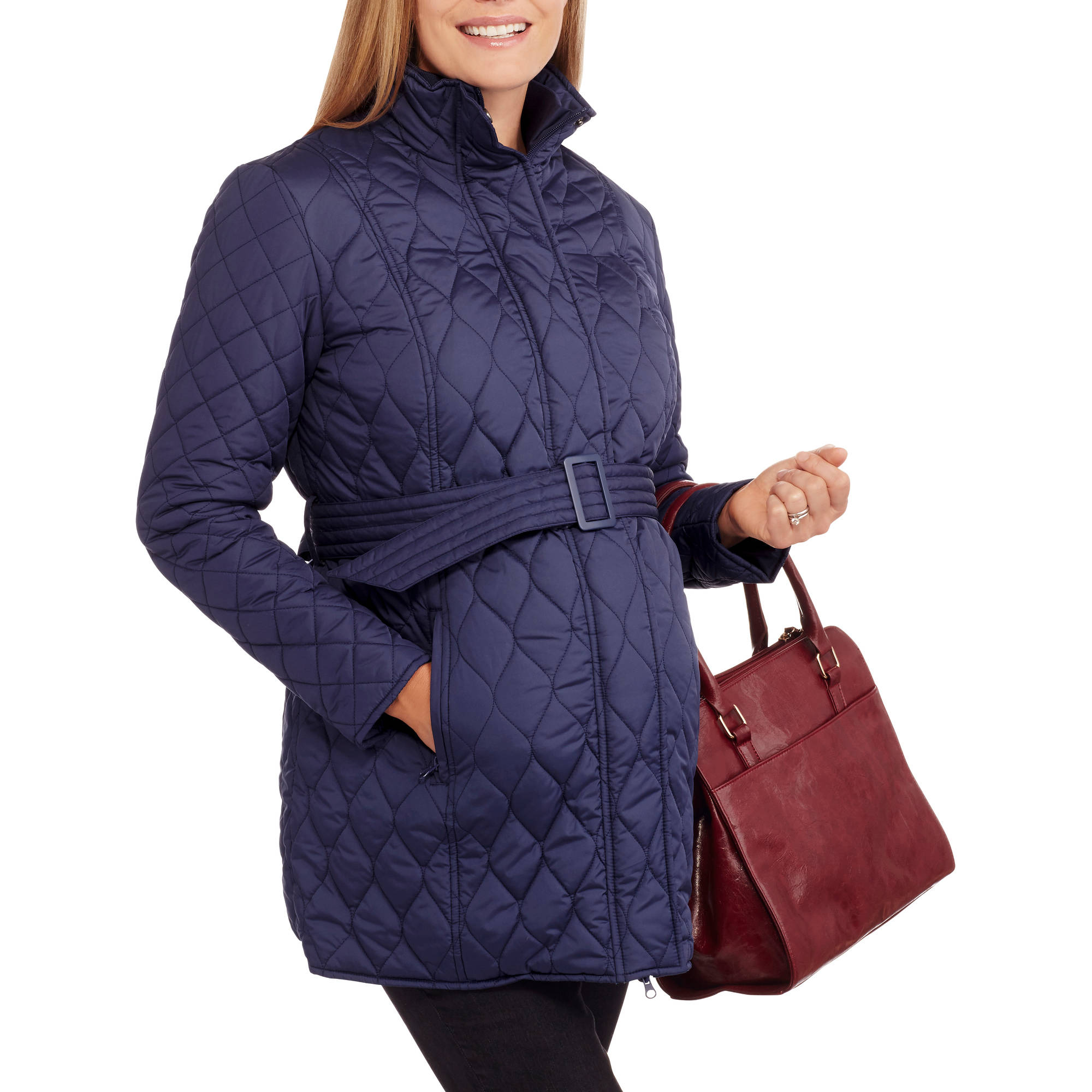 Faded Glory Maternity Long Belted Quilted Jacket