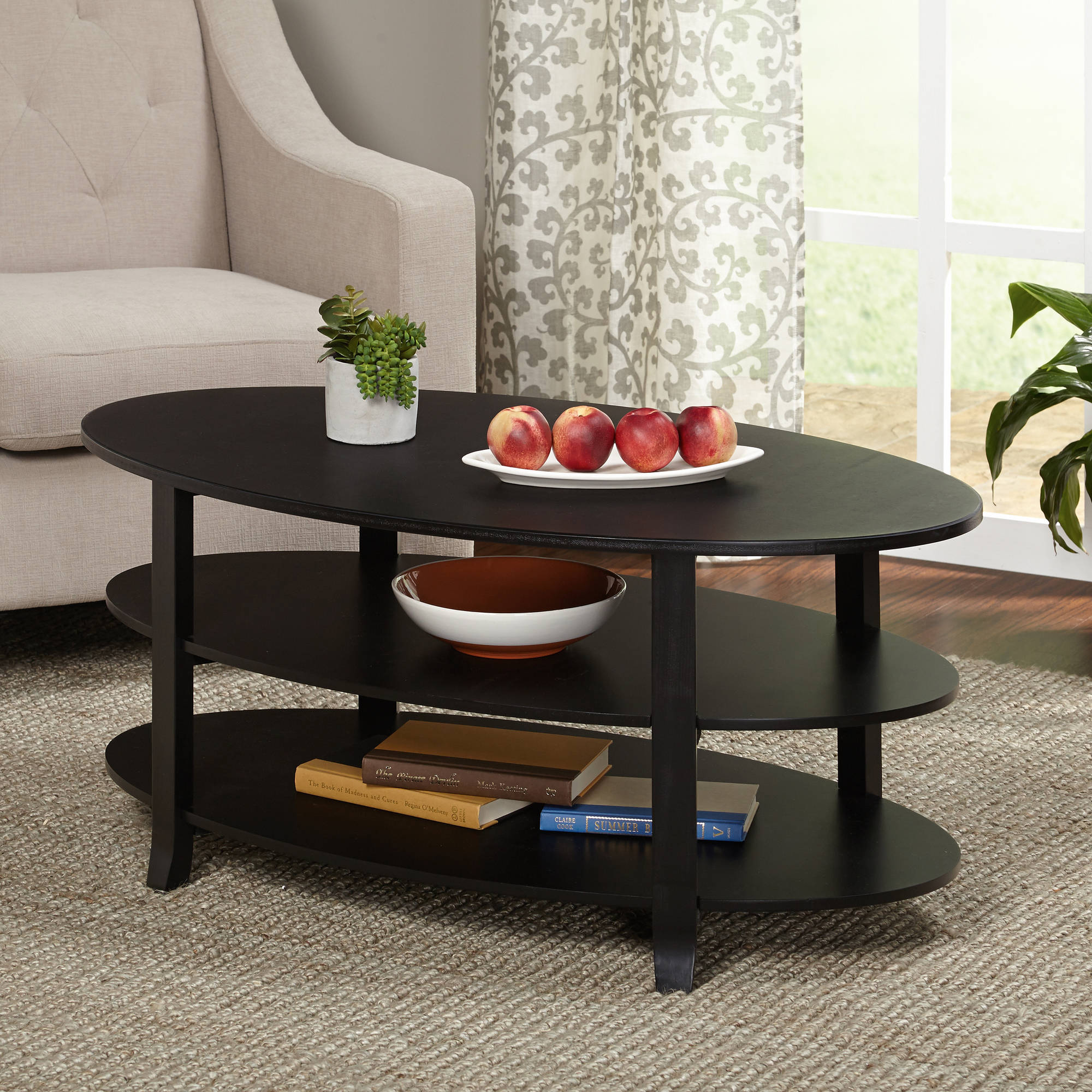 Syrah Coffee Table Espresso with Frosted Glass Walmart