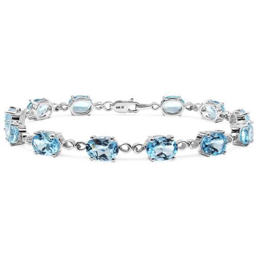 Malaika Sterling Silver 19 1 5ct Blue Topaz Bracelet by Overstock