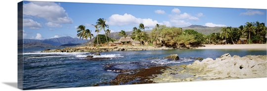 Great BIG Canvas David Cornwell Premium Thick-Wrap Canvas entitled Hawaii, Oahu, Paradise Cove, Thatched Huts Along... by Great Big Canvas