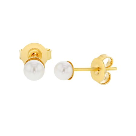 14k Gold Plated Plain White Simulated Pearl Stud Earrings for Girls - Pearl Earrings For Girls