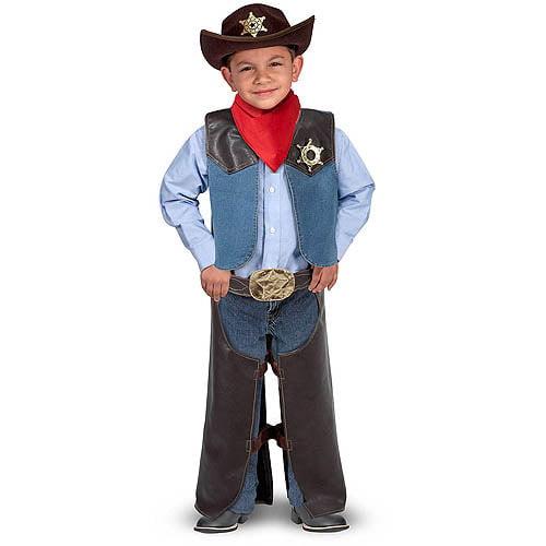 Melissa & Doug Cowboy Role Play Costume Set (5 pcs) - Includes Faux Leather Chaps