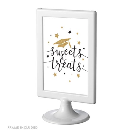 White and Gold Glittering Graduation Party Sign, Double-Sided 4x6-inch, Sweets & Treats, Includes Reusable Frame - Graduation Party Signs