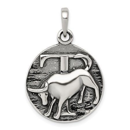 Taurus Horoscope Pendant In 925 Sterling Silver 23X19mm