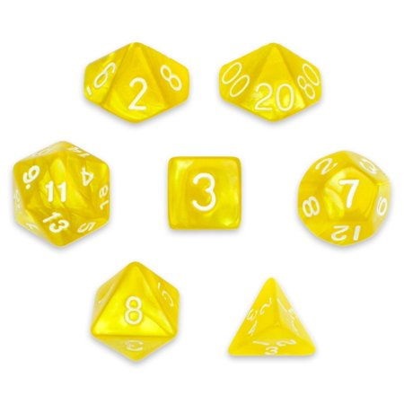 Pearl Pouch - Translucent Polyhedral Dice, Gold Pearl 7 Polyhedral Dice, With Velvet Pouch