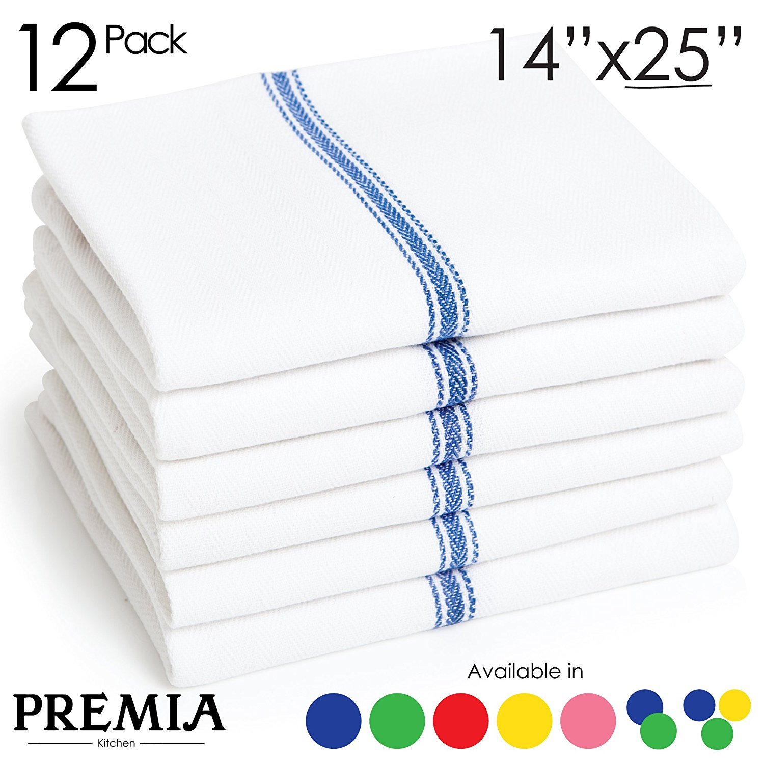 "Click here to buy Premia Commercial Kitchen Towels (12-Pack) 14""x25"" White Dish Towels with Center... by Liliane Collection."