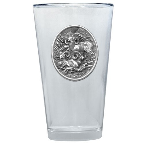 3 Bighorn Sheep Pint Glass by Heritage Metalworks