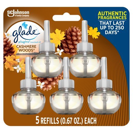 Glade PlugIns Refill 5 CT, Cashmere Woods, 3.35 FL. OZ. Total, Scented Oil Air Freshener Infused with Essential Oils