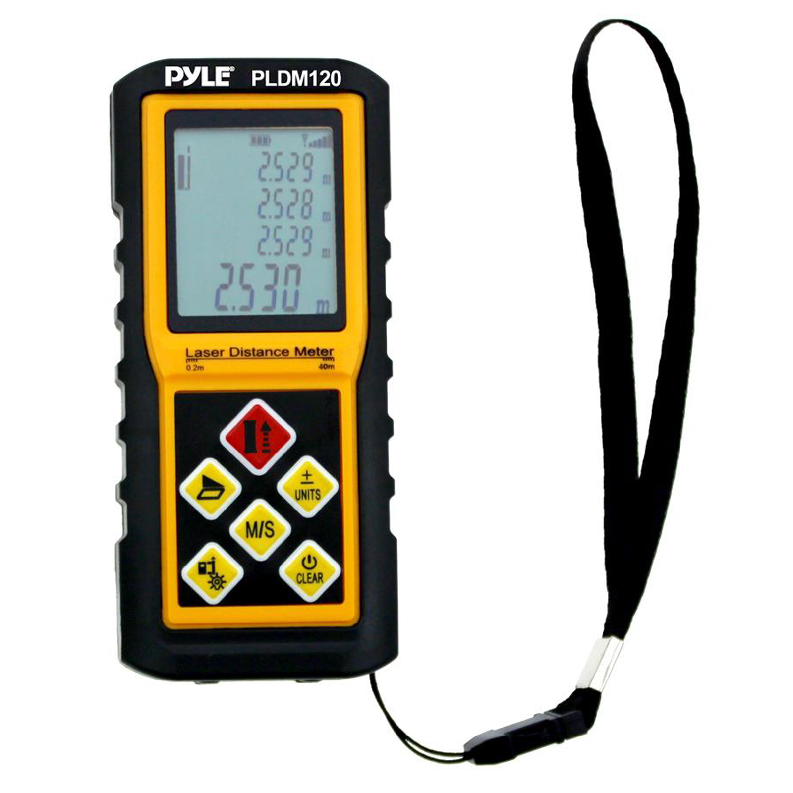 Pyle 300 Ft. Handheld Laser Distance Meter with Calculation, Tool Backlit LCD Display, Direct / Indirect, Volume and Area Measuring