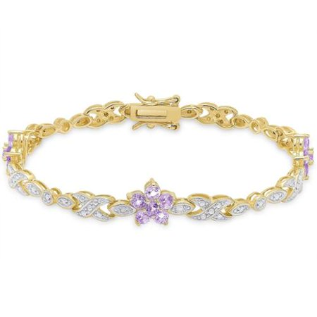 Plumeria Flower Diamond Bracelet (Gold over Sterling Silver Diamond Accent Gemstone Flower Bracelet)