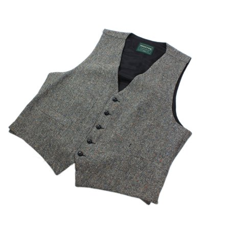 Cable Knit Wool Vest - grey men's full back wool tweed vest from ireland