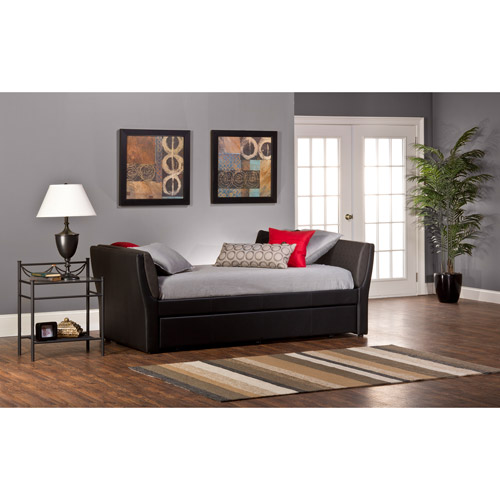 Natalie Faux Leather Daybed With Denim-Look Pillows And