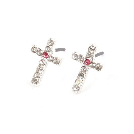 Women Rhinestone Detail Pink Cross Style Ear Pins Earbob Stud Earrings (Style Ear Pin)