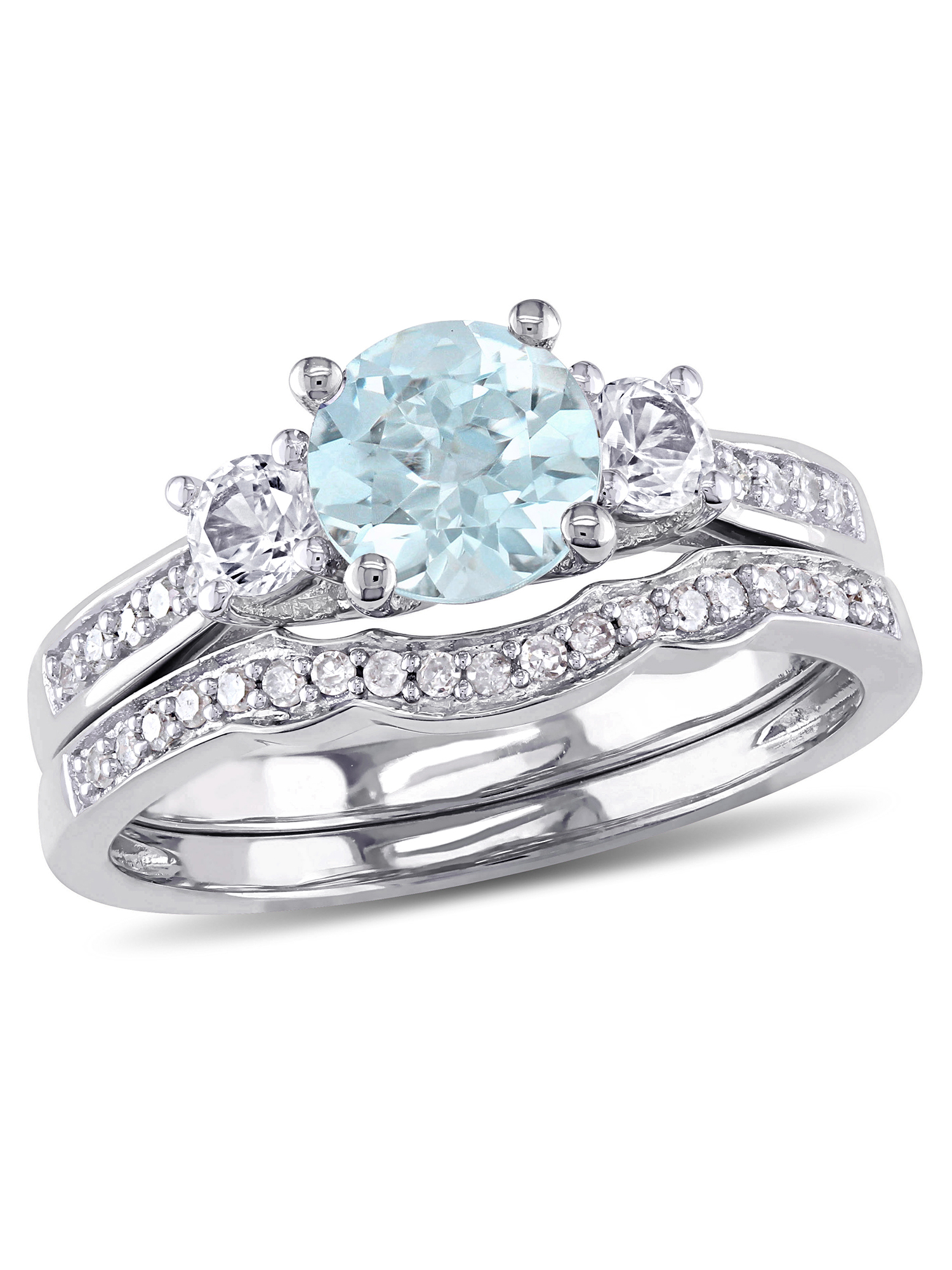 1 Carat T.G.W. Aquamarine and Created White Sapphire and 1/7 Carat T.W. Diamond 10kt White Gold Bridal Set