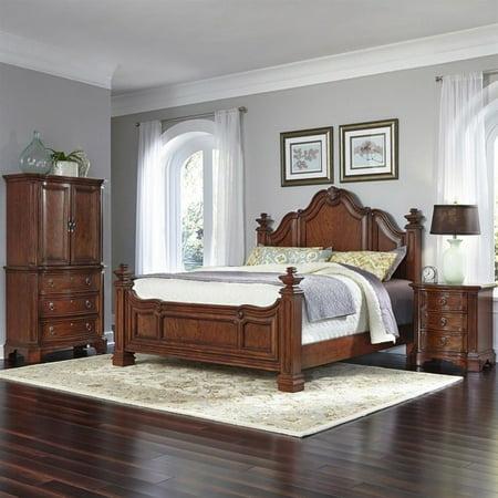 Home Style Santiago Queen Bed Night Stand Door Chest