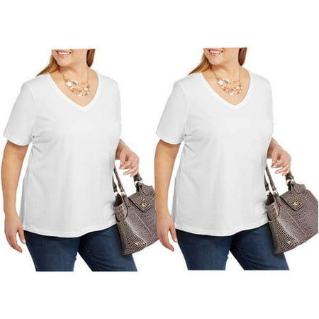 55215734 Faded Glory Women''s Plus Size Short Sleeve V Neck Tee, 2 Pack Value Bundle