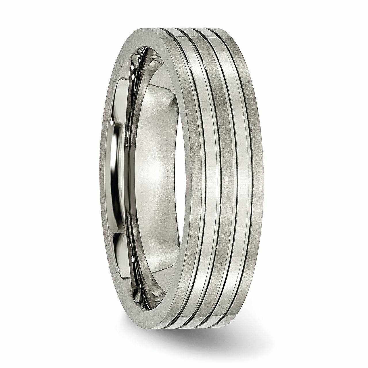Titanium Grooved 6mm Brushed Wedding Ring Band Size 12.00 Fashion Jewelry Gifts For Women For Her - image 3 of 6