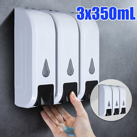 3x350ml Liquid Soap Dispenser Wall Mount Manual Hand Shampoo Shower Lotion Container for Bathroom Washroom Kitchen